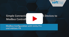Video: Simple Connection of PROFIBUS Devices to ­Modbus Controllers: Modbus Configuration with Unity Pro and mbGate PA